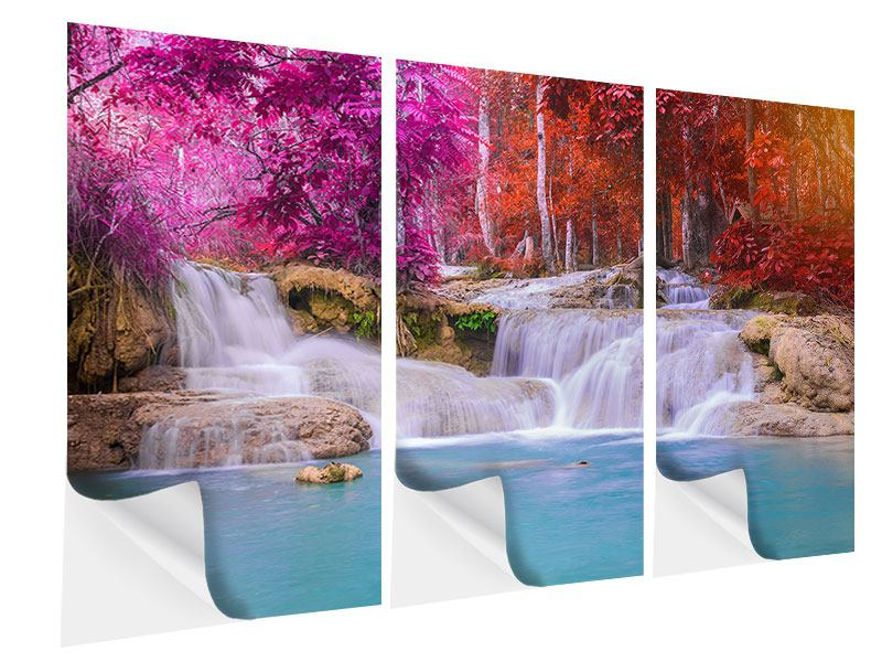 Klebeposter 3-teilig Paradiesischer Wasserfall