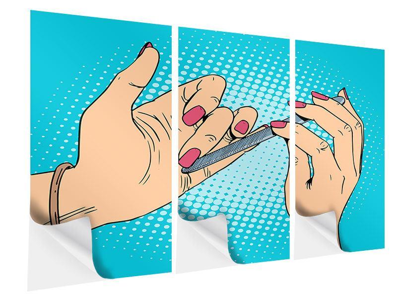 Klebeposter 3-teilig Pop Art Nails