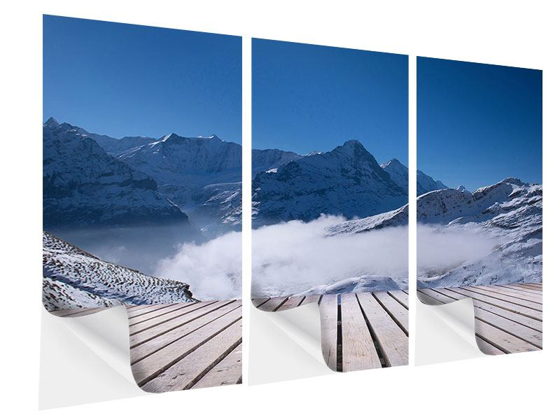 Klebeposter 3-teilig Sonnenterrasse in den Schweizer Alpen