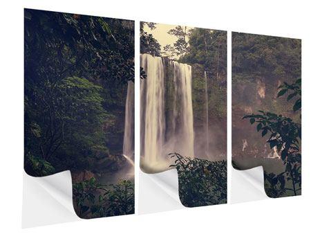 Klebeposter 3-teilig Wasserfall in Mexiko