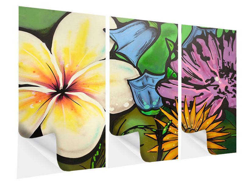 Klebeposter 3-teilig Graffiti Flowers