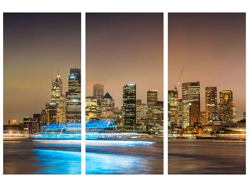 Klebeposter 3-teilig Skyline Sydney im Lichtermeer