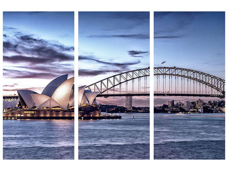 Klebeposter 3-teilig Skyline Sydney Opera House