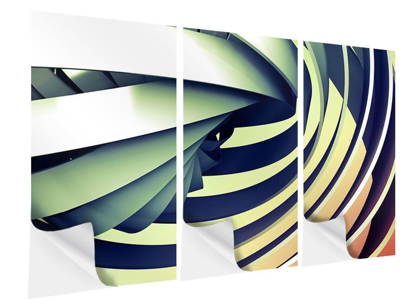 Klebeposter 3-teilig Abstrakte Perspektiven