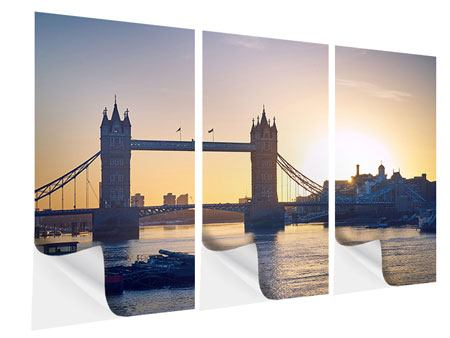 Klebeposter 3-teilig Tower Bridge bei Sonnenuntergang