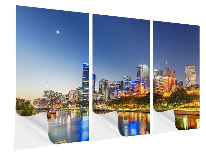 Klebeposter 3-teilig Skyline Sydney in der Abenddämmerung