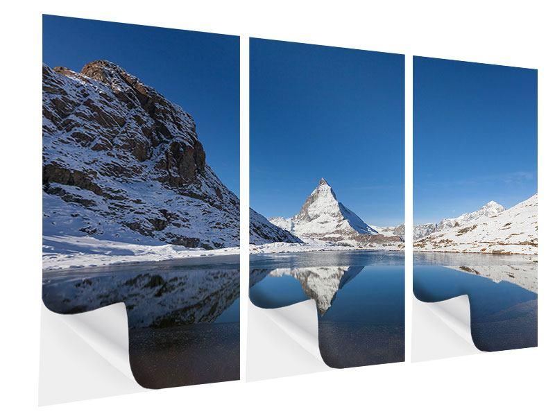 Klebeposter 3-teilig Der Riffelsee am Matterhorn