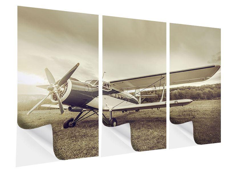 Klebeposter 3-teilig Nostalgisches Flugzeug im Retrostyle