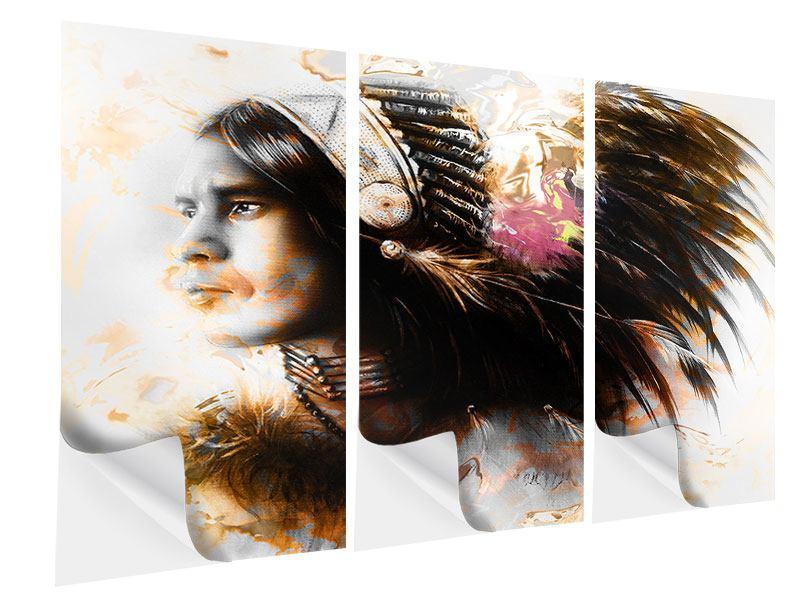 Klebeposter 3-teilig Kunstvolles Indianer-Portrait