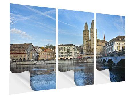 Klebeposter 3-teilig Die Altstadt von Zürich
