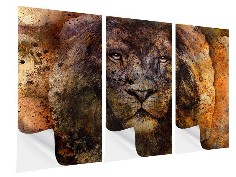 Klebeposter 3-teilig Portrait eines Löwen