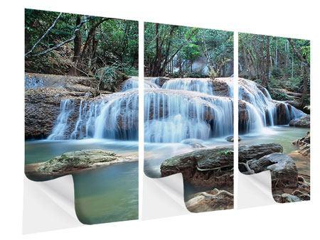 Klebeposter 3-teilig Ein Wasserfall