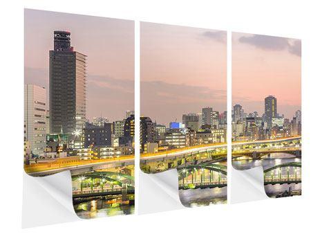 Klebeposter 3-teilig Skyline Das Lichtermeer von Tokio