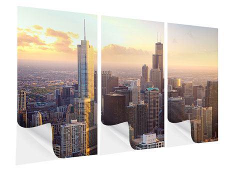 Klebeposter 3-teilig Skyline Chicago
