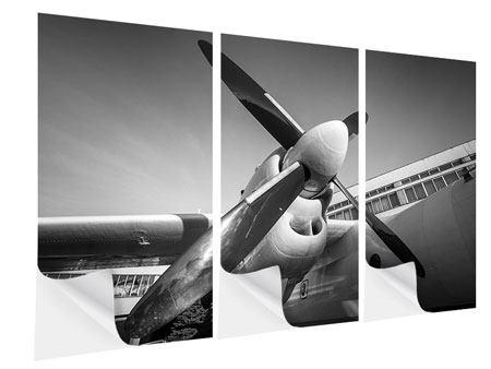 Klebeposter 3-teilig Nostalgisches Flugzeug