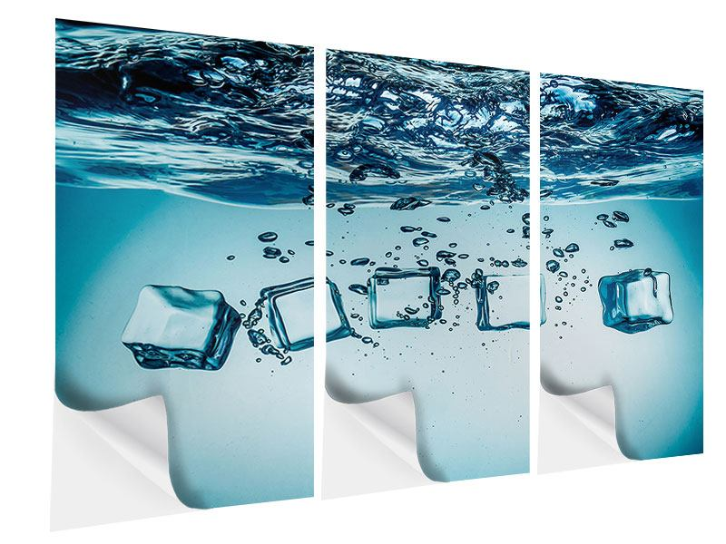 Klebeposter 3-teilig Eiswürfel-Quadro
