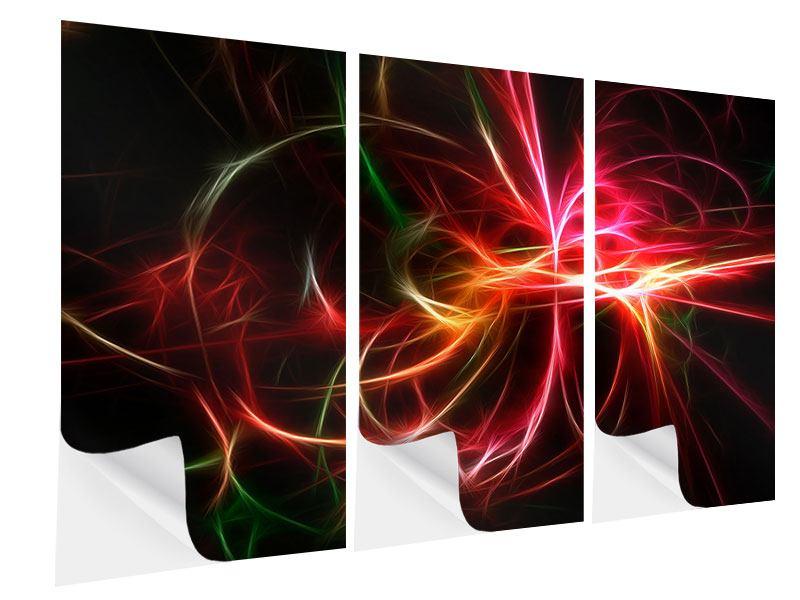 Klebeposter 3-teilig Fraktales Lichtspektakel