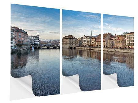Klebeposter 3-teilig Kosmopolitisches Zürich