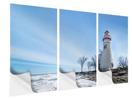 Klebeposter 3-teilig Leuchtturm im Schnee