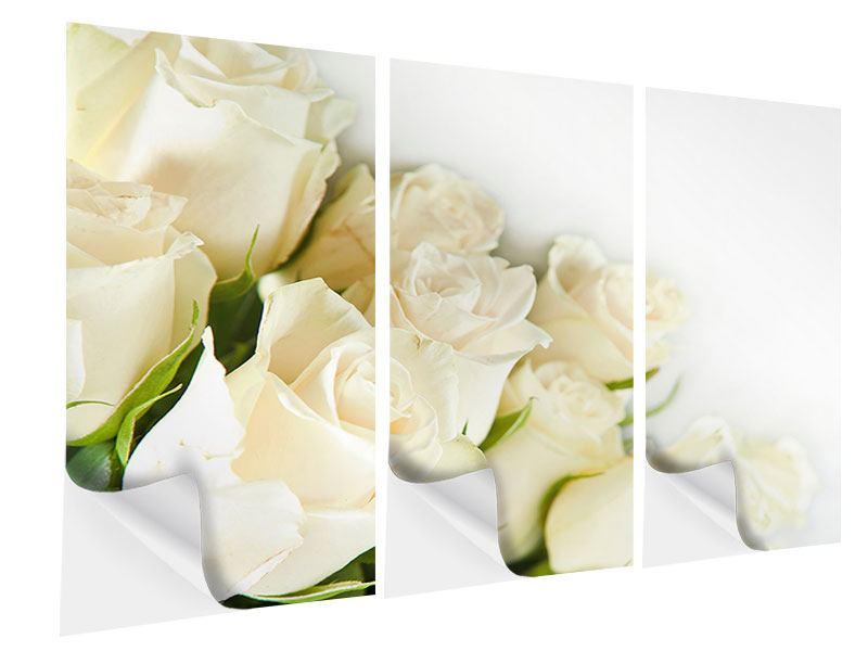 Klebeposter 3-teilig Weisse Rosen