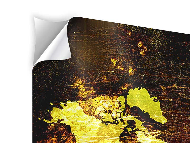 Klebeposter 3-teilig Retro-Weltkarte