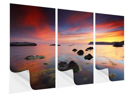 Klebeposter 3-teilig Ein Sonnenuntergang am Meer