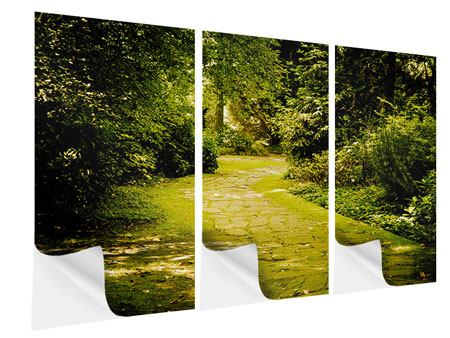 3 Piece Self-Adhesive Poster Moss-Covered Path