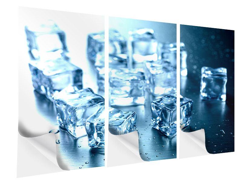 Klebeposter 3-teilig Viele Eiswürfel