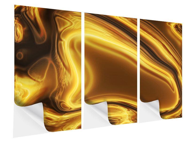 Klebeposter 3-teilig Abstrakt Flüssiges Gold