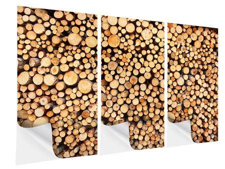 Klebeposter 3-teilig Holzstämme
