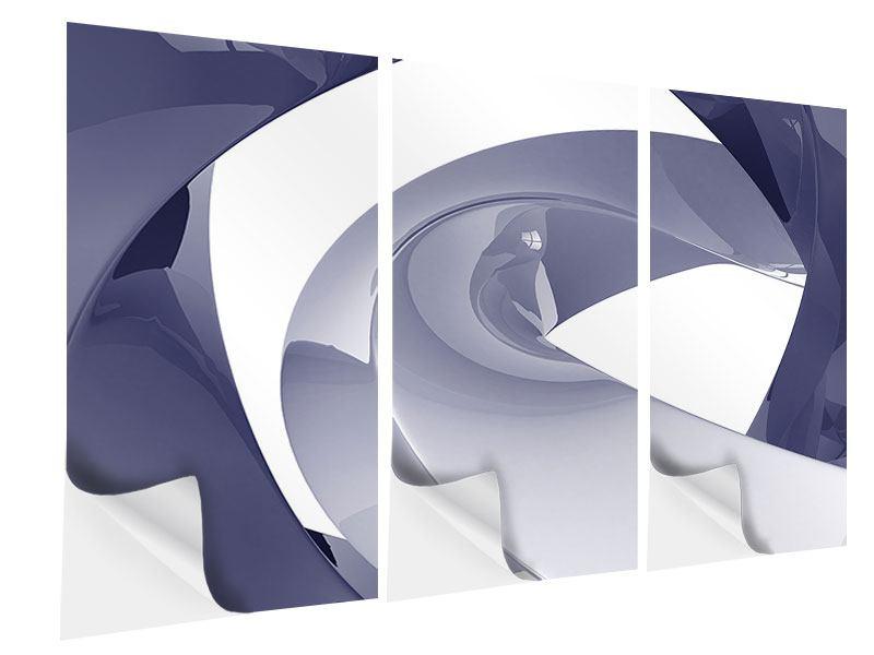 Klebeposter 3-teilig Abstrakte Schwingungen