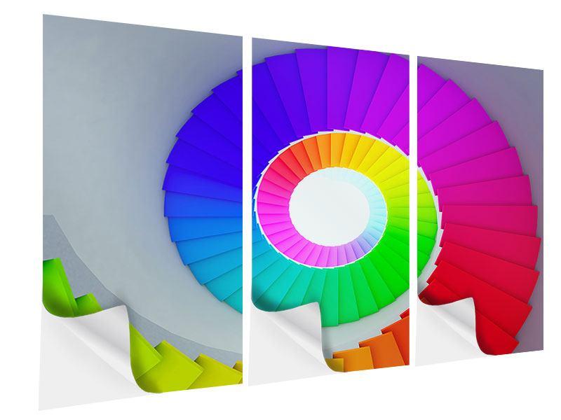 Klebeposter 3-teilig Bunte Wendeltreppe 3D