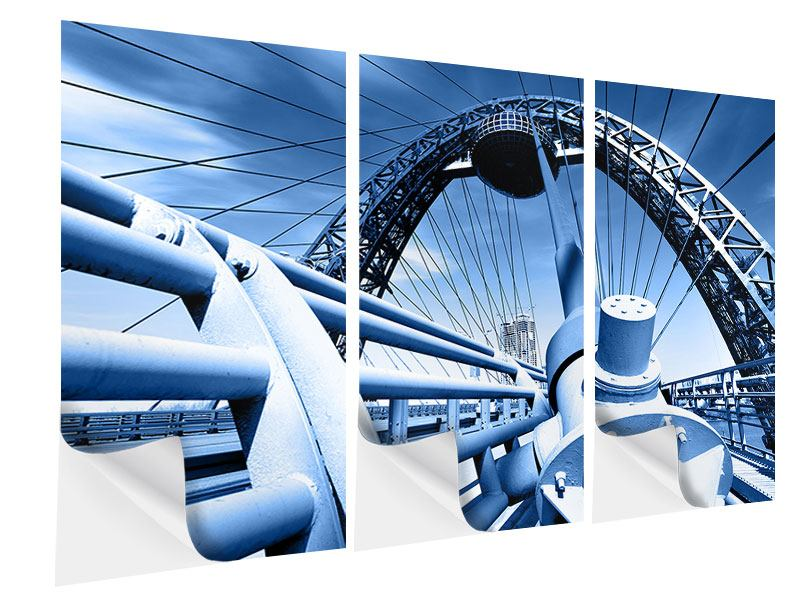 Klebeposter 3-teilig Avantgardistische Hängebrücke