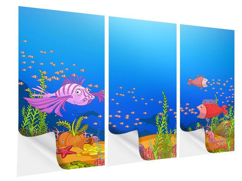 Klebeposter 3-teilig Der Schatz unter Wasser