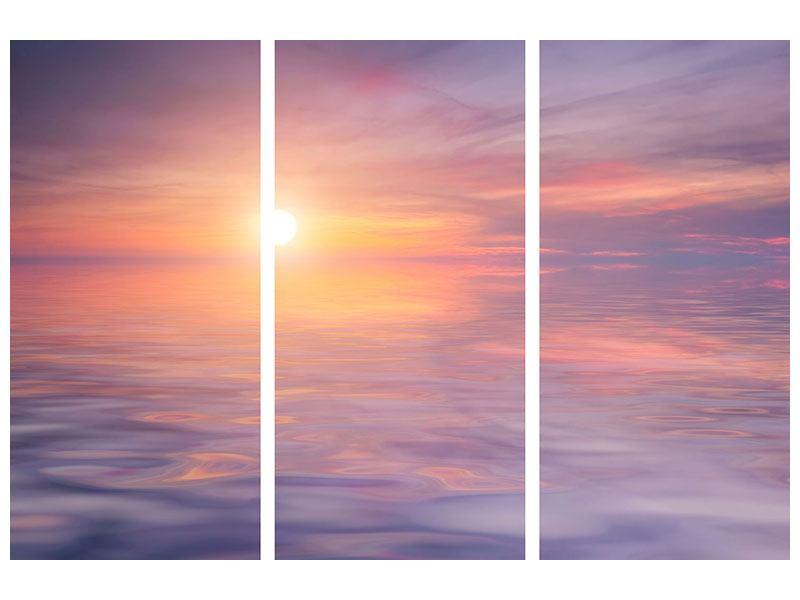 Klebeposter 3-teilig Sonnenuntergang auf See