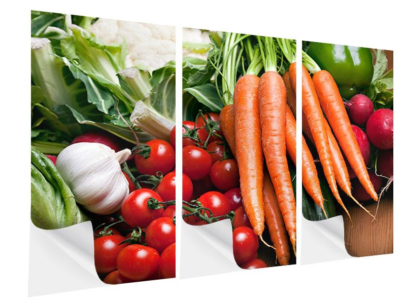 Klebeposter 3-teilig Gemüse