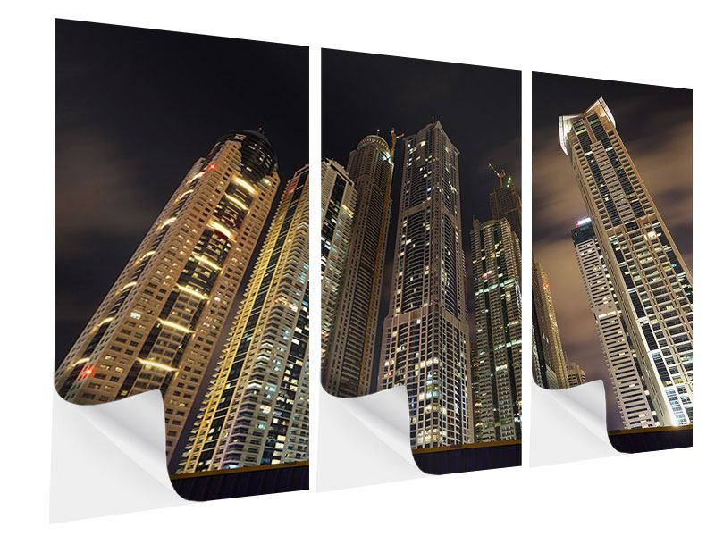 Klebeposter 3-teilig Wolkenkratzer Dubai Marina