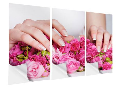 Klebeposter 3-teilig Hände auf Rosen gebettet