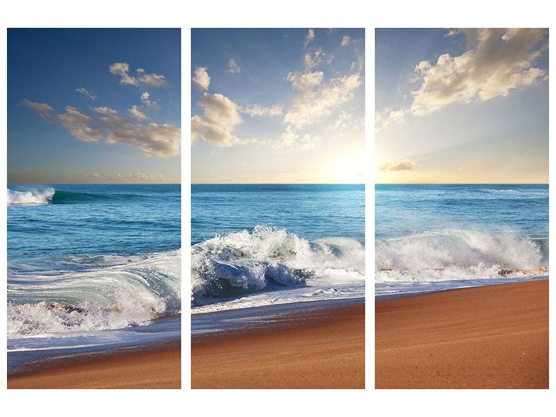 Klebeposter 3-teilig Die Wellen des Meeres