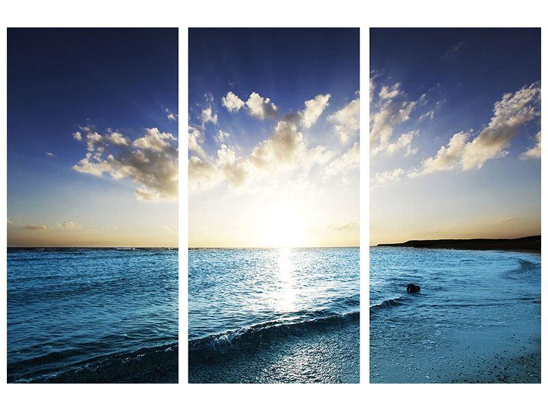 Klebeposter 3-teilig Das Meer im Sonnenaufgang