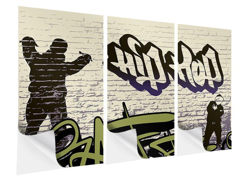 Klebeposter 3-teilig Graffiti Hip Hop