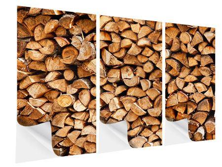 Klebeposter 3-teilig Gestapeltes Holz