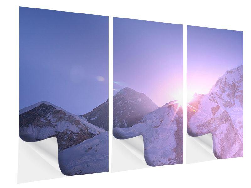 Klebeposter 3-teilig Sonnenaufgang beim Mount Everest