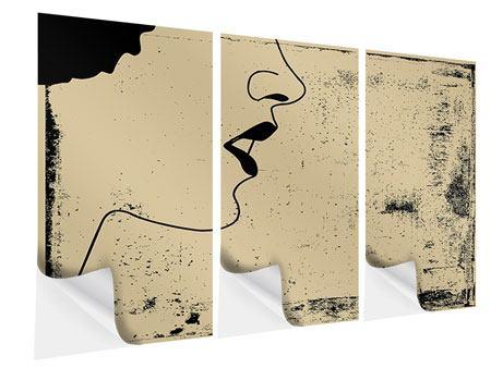 Klebeposter 3-teilig Frauenportrait im Grungestil