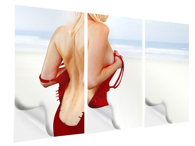 Klebeposter 3-teilig Rücken einer Schönheit