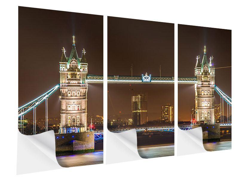 Klebeposter 3-teilig Tower Bridge bei Nacht