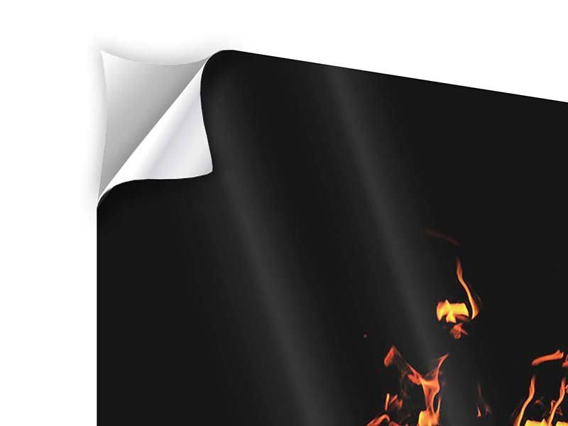 Klebeposter 3-teilig Moderne Feuerwand