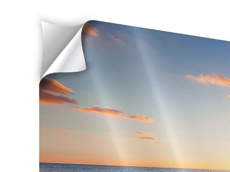 Klebeposter 3-teilig Sonnenuntergang am Horizont