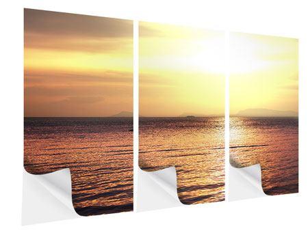 Klebeposter 3-teilig Sonnenuntergang an der See