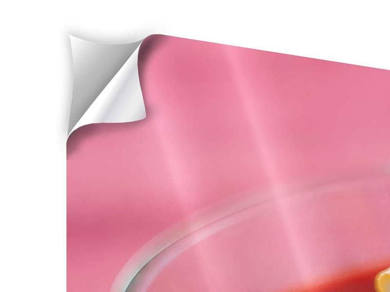 Klebeposter 3-teilig Himbeercocktail